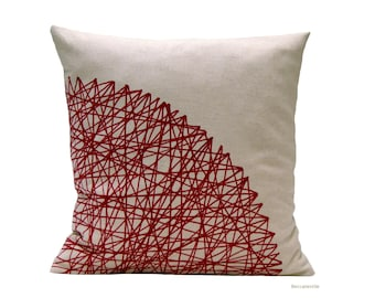 Decorative pillow, geometric red burgundy cushion,linen cotton pillows  handmade by BeccaTextile.