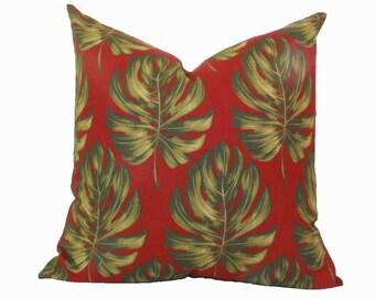 Red green palm leaf pillow cover 16x16 18x18 20x20 22x22 24x24 26x26 28x28 Euro sham red Lumbar pillow 12x20 12x24 14x24 14x26 16x24 16x26
