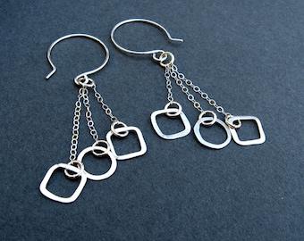 Geometric shape earrings in sterling silver- Geometry 101