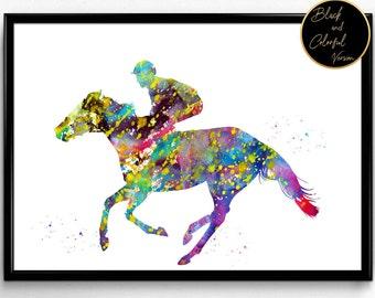 Horse Racing, Jockey, Sport, Wall Art, Gift, Home Decor, Watercolor art (1352)