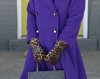 "Vintage School Girl ""Twiggy"" Coat / Lord & Taylor / Purple Coat / Car Coat / Drop Waist / Double Breasted / Size S/M"