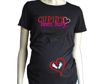 Valentines Day MATERNITY Shirt, Cupids Been Busy Shirt, Pregnancy T-Shirt, Maternity Fit Short Sleeve Tshirt, Short or Long Sleeve