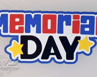 Premade Paper Piece Title Die Cut for Scrapbook Page Summer Memorial Day Handmade 43
