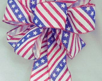Sparkling Red White And Blue Handmade Bow