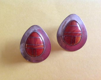 Very Nice Native American Inlaid Sterling and Orange Spiny Oyster Earrings