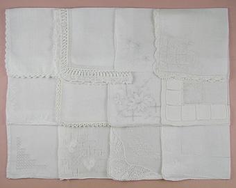 Wedding Hanky Lot,Vintage Hanky Lot,One Dozen White Wedding Vintage Hankies Handkerchiefs (Lot #96)