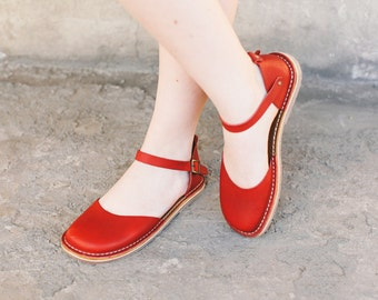 Red Leather Sandals, Summer Shoes, Peep Toe Women Sandals, Handmade Women Sandals, Leather Sandals, Summer Shoes, Marry Jane Shoes