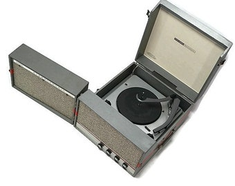 COLUMBIA 50s 60s Portable Turntable Record Player Stereo - LISTEN to it play