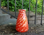 Red Glass Vase with Feath...