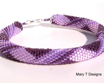 Shades of Purple Bead Crochet Bangle Bracelet