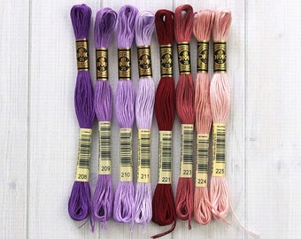 DMC Floss, Color Range 208-225, 6-Strand Cotton Thread for Embroidery, Cross Stitch and Needle Arts, sold individually