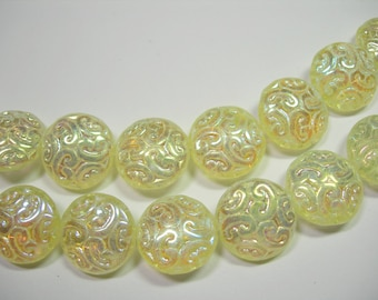 10 Lovely Czech Glass Button BEADS 14mm Jonquil Yellow AB