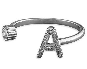 Adjustable Open Cubic Zirconia with Initial A Sterling Silver Ring
