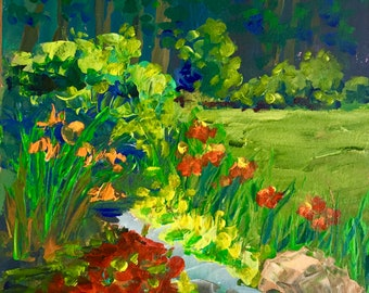 """Original Impressionist Acrylic Painting , Daylilies Are Here, 6"""" x 6"""""""