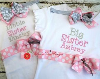 Sibling Shirt Set, Big Sister Shirt, Little Sister Shirt, Headbands, Baby Sister Gift, Big Sister Gift, Pink and Grey
