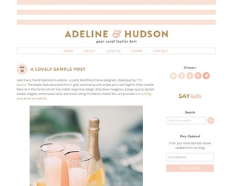 "Wordpress Theme Premade Blog Template Design - ""Adeline"" Instant Digital Download"