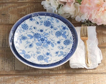 Blue and White Mismatched Plates Set of 2 Tea Party Lunch Plate Salad Plate for Wedding, Cottage Chic, Vintage, Replacement China