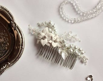 Wedding comb, Bridal comb, Wedding hair jewelry, Bridal head piece, Wedding hair comb, Bridal hair comb, Flower hair comb, Pearl hair comb