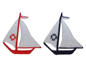 ID 1883AB Set of 2 Sailboat Patches Ship Nautical Embroidered Iron On Applique