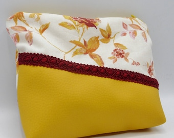 Yellow and burgundy flowers pouch / clutch in faux leather and cotton