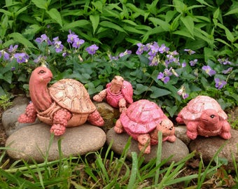 Pink Turtle Family / Whimsy Yard Art / Set of 4 Turtles / Outdoor Garden Patio Decor / Housewarming