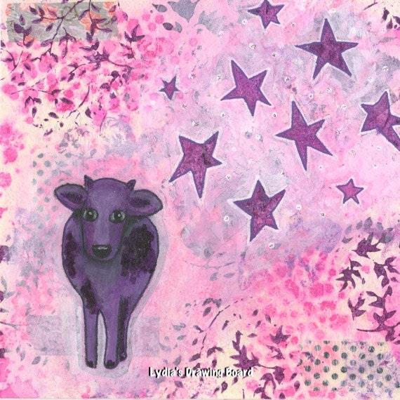 Purple Cow, Purple Art, Purple Artwork, Pink Art, Pink Art Print, Girls Room Decor, Nursery Rhyme, Nursery Rhyme Art, Nursery Decor, Baby