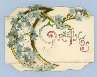 Forget-Me-Nots on Victorian Die-Cut Greeting Card by Raphael Tuck