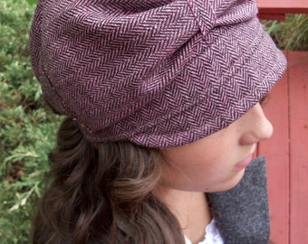 Plum Tweed Hat with bow