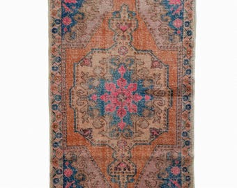Antique Turkish Oushak Rug Turkish Orange Area Rug FREE SHIPPING! / 4'1''x6'8''ft