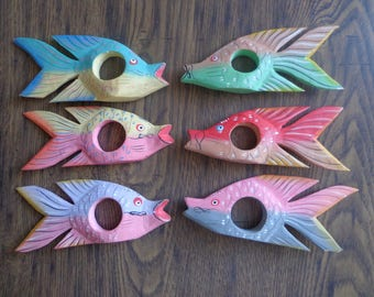 Colorful Fish Napkin Rings, Set of 6 Vintage Wooden Rainbow Fish Hand Painted Napkin Holders