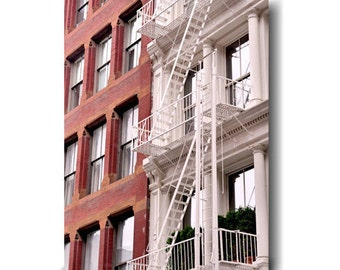 New York canvas photography, white and red New York City building fire escape ladder, canvas print, Soho, large urban decor, entryway art