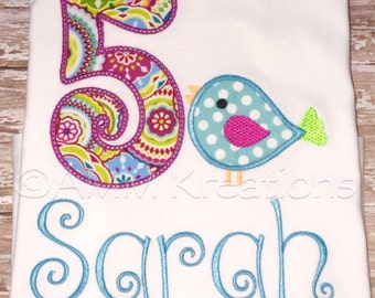 Personalized Birthday Bird Applique Shirt or Onesie