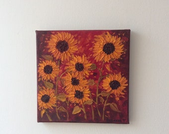 Stunning Contemporary Wild Sunflowers Palette knife oil painting on canvas