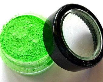 "Bright Green Shimmer Eye Shadow - Neon Green - ""Green Apple"" - Free U.S. Shipping - Mineral Makeup - Eyeshadow"