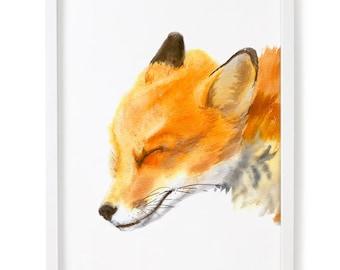 Fox Print, Fox Watercolor Print, Fox Wall Art