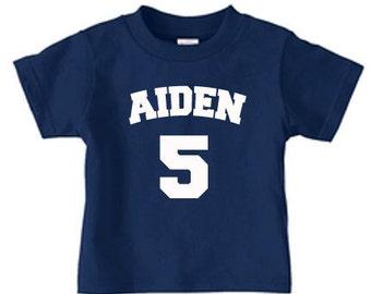 kids birthday shirt, sports birthday shirt, name and number shirt, boy birthday shirt, soccer birthday, personalized shirts