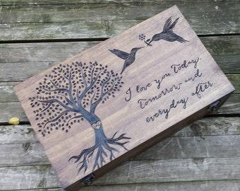 Heirloom quality custom wedding gift - Personalized wine box, memory box, card box, fifth anniversary gift, wine crate, wine holder