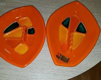 Cool Pair of Orange Mid Centruy Modern Ashtrays
