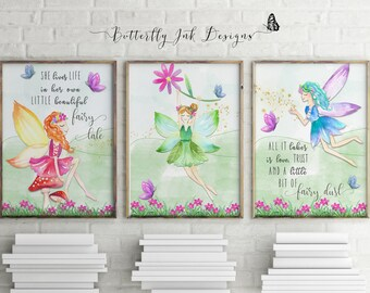 Fairy print | children's prints | set of 3 prints |  Fairies | Kids wall art