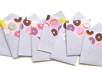 Donut mini cards, donut note cards, blank gift tags, tags with envelopes, maker thank yous, square note cards, small stationery, 3x3 cards