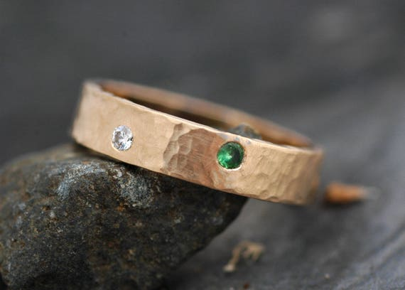 Thick Recylced 14k or 18k Gold Band With Three Flush Set Stones- Diamond and Colored Gemstones- Custom Made Ring