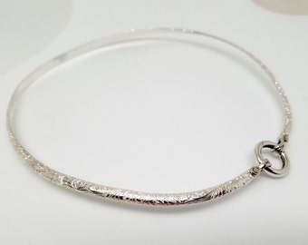 Made To Order Fern Garden Motif Sterling Silver Public Day Collar with Stainless Steel Captive Segment Clasp/lock