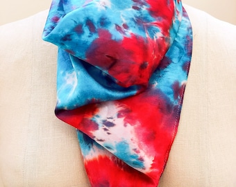 Handmade Hand-panited Square Silk Scarf ONE-OF-A-KIND customized limitedition