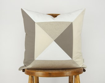 Sale | Geometric Colorblock Pillow Case | Cushion Cover in 18x18 inches | Modern Triangle Quilt Pattern in Taupe, White, Cream and Beige