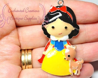 """2"""" Snow White With Forest Deer Inspired Charm, Chunky Pendant, Keychain, Bookmark, Zipper Pull, Chunky Jewelry, Purse Charm"""
