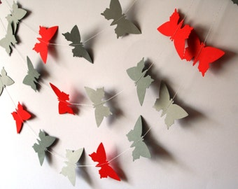 Red and gray Wedding decoration - Butterfly GARLAND - Red and gray nursery -  wedding garland - Bridal shower decoration - Nursery mobile