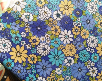 Vintage Sheet Fabric, Flower Sheet Fabric, Reclaimed Fabric, Blue And Yellow Flowers, French Sheet Fabric, Patchwork & Quilting Fabric