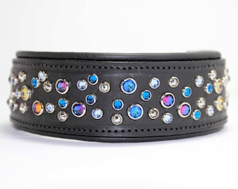 Padded Leather Dog Collars / Thick Dog Collar / Dog Collar Leather /  Large Dog Collar / Swarovski Crystal Dog Collar / Pitbull collar