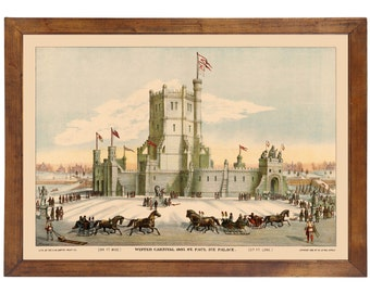 St. Paul MN, Winter Carnival Ice Palace, 1887; 24x36 inch print reproduced from a vintage lithograph
