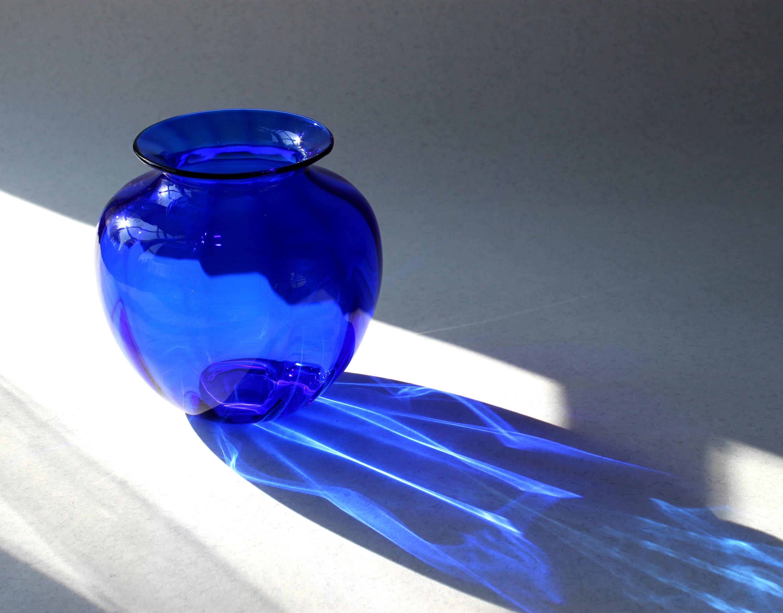 Hand Blown Glass vase, Small Flower Vase, Cobalt Blue, Spring Celebration, Swedish Glass, Hand Blown by Marianne Degener